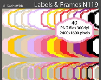 Modern Labels and Frames PNG Clip Art Kit commercial use for card making, scrapbooking, invites