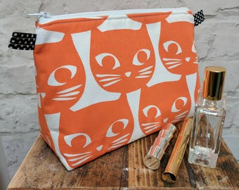 "Handmade Large Orange Cat Make up Bag / Cosmetic Bag / Vanity Bag / Wash Bag. Fully lined - 25cm(10"")Wide, 18cm(7"")Tall by 10.5cm(4"")Deep"