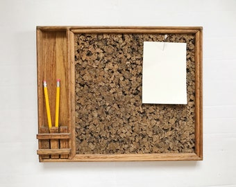 Vintage Wall Cork Note Board - Message Board with  Pocket Shelf - Wood - Rustic - Industrial - Organic - Natural - Dark Wood - Office Decor