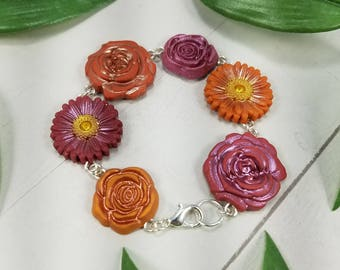 Flower Bracelet - Pink Flower Bracelet - Orange Flower Bracelet - Flower Jewelry - Pink Flower Jewelry - Orange Flower Jewelry