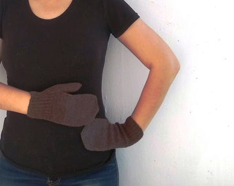 Brown Mitten Knitted wool from 100% wool Kauni