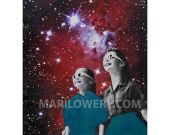 Celestial Retro Space Art Print, 8.5 x 11 Inch Print, Purple and Blue Mixed Media Collage Print, Surreal Art Dorm Room Decor