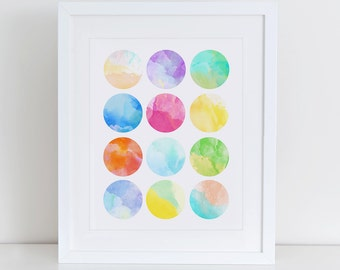 Modern Abstract Watercolor Art Print , Instant Download, Printable Home Decor, Digital Art Print, Watercolor Art Print, Mosaic Print