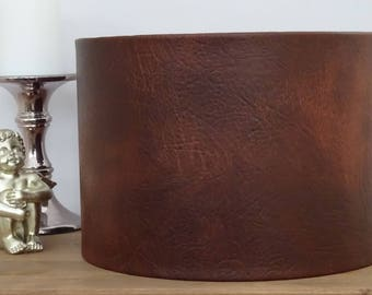 Handmade Tan Brown Faux Leather Effect Lampshade