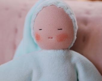 First Waldorf doll, birthgift, waldorf toys, cuddle doll ,color Mint