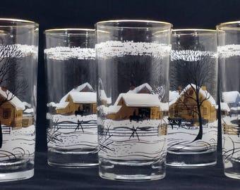 Vintage winter ranch scene tumbler glasses