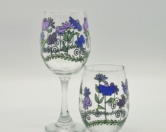 Purple Flower Wine Glass Hand Painted with Whimsical Accents