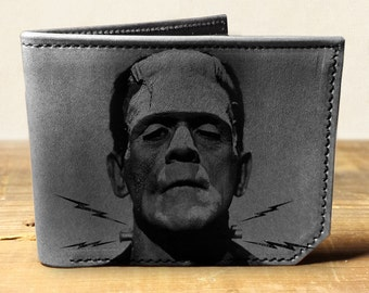 wallet, leather wallet, mens leather wallet, frankenstein wallet - 034