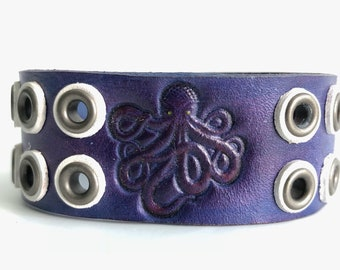Leather Octopus Bracelet, Leather Jewelry,Leather Cuff With Snap,Cosplay,Steampunk,Kraken,Squid,Purple,Nightvale