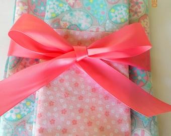 Flannel Receiving Blanket, Bib and Burp Cloth Gift Set
