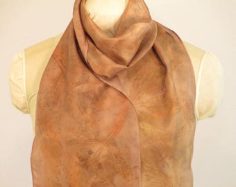 "Hand-Dyed Silk Scarf - Plant-Dyed with Peony and Willow -  HA8111730  - 8""x70"" (20 x 177cm)"