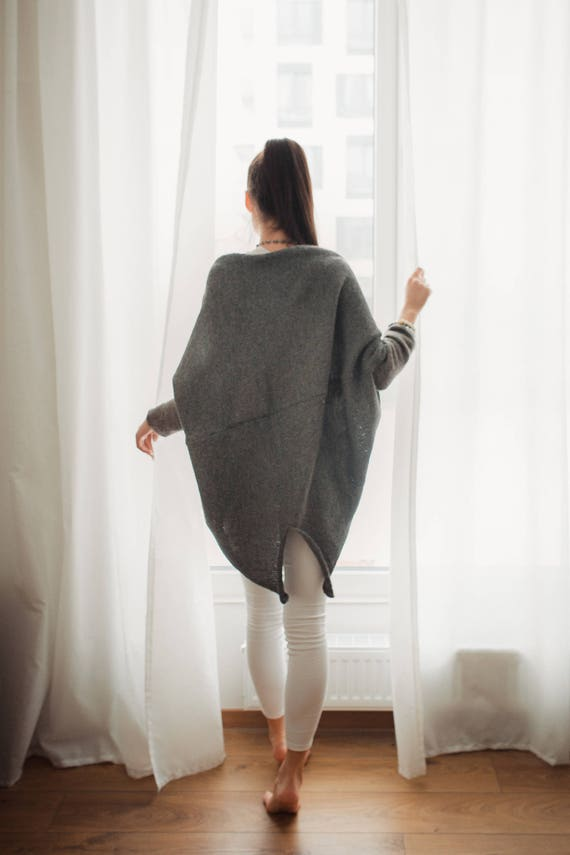 long grey wool CARDIGAN open cardigan kimono sweater wool cardigan alpaca Grey front oversized alpaca jacket KNITWEAR pure EAOBwqx