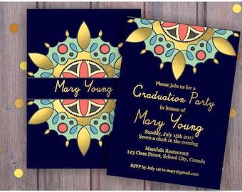Mandala Graduation Party Invitation. Graduation Celebration Invitation Graduation Ceremony. Graduation Announcement. Printable Digital