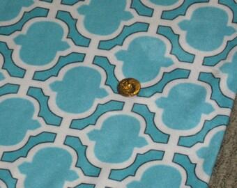 Michael Miller MINKY Fabric HEATHER Aqua Teal Quadrafoil Design Ultra Soft Minky Fabric Sold by the Half Yard