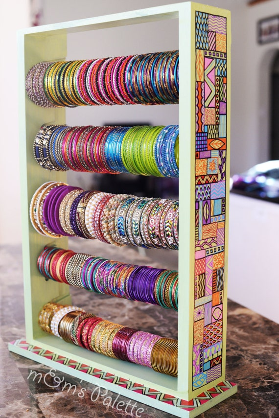 Items similar to Hand Painted Bangle Stand, Jewelry Organizer ...