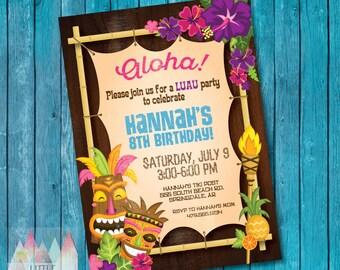 Hawaiian Luau Birthday Invitation Luau Party Hawaiian