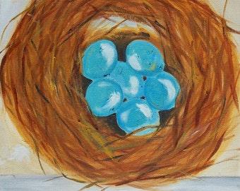 Bird nest painting, 10x10, original oil painting by Marla