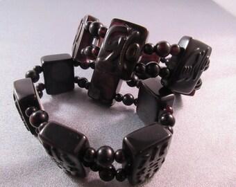 Tibeten Dzi Agate Stretch Bracelet 1pc