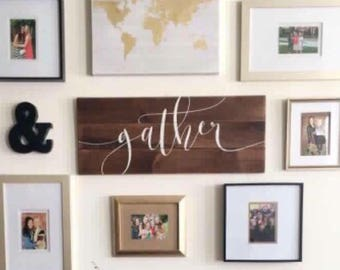 Farmhouse Decor, Gather Wood Sign, Housewarming Gift, Rustic Pallet Sign Dining Room Decor Farmhouse Style Gather Kitchen Sign, Wedding Gift
