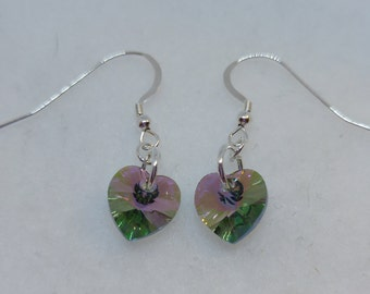 Sterling Silver Swarovski Crystal Paradise Shine Heart Earrings