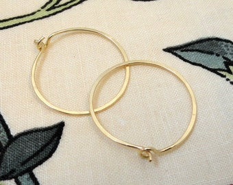 Medium 14K Gold Filled Hammered Eyelet Hoops