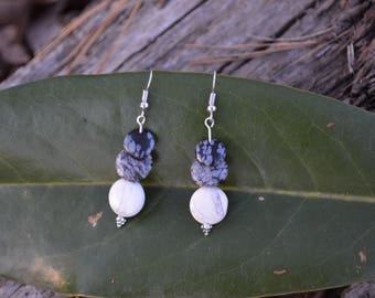 black, grey and white earrings