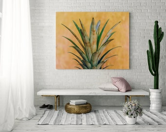 Kitchen Photography, pineapple photograph, kitchen wall art, jungalow, boho, food photography, tropical wall decor, canvas wrap happy art
