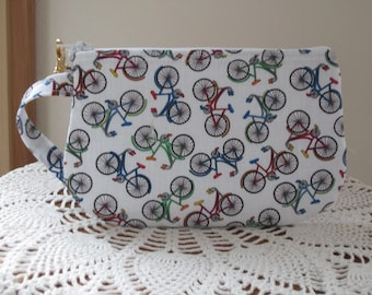 Retro Cruiser Bikes Clutch Wristlet Zipper Gadget Pouch Smart Phone Bag