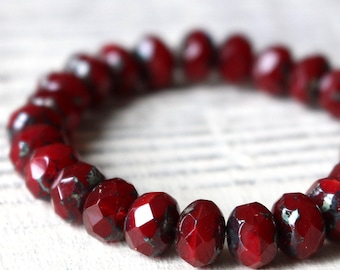 9x6mm Faceted Rondelle Beads - Czech Glass Beads - Jewelry Making Supplies - Opaline Red Picasso Edges (10 or 25 bead strand)