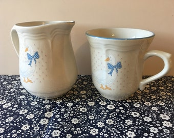 Cute 80s Goose Cup And Creamer Or Small Pitcher