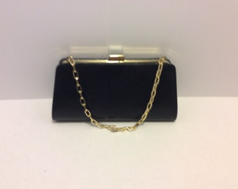 Vintage Bijoux Terner Black Clutch Handbag, Gold Shoulder Chain Strap, Shabby Chic, Retro Bag, Evening Bag, Hollywood Glamour