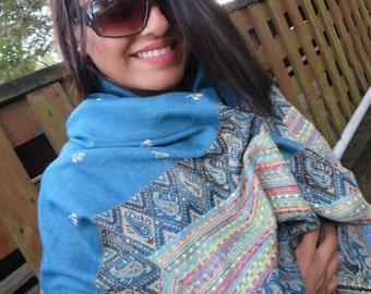 Blue Blanket Scarf, Winter Scarf, Warm Scarf, Boho Scarf, Wool Blanket Scarf, Ethnic Scarf, Tartan Scarf, Shawl For Women, Oversized Scarves