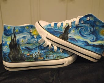 "Customised shoes, Van Gogh, ""Starry Night"", Notte stellata,converse style trainers. REAL VONVERSE available on request.Please contact me!"