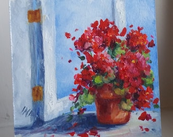 "Sunny Red Geraniums in Open Window, 4"" X 4"", Original Oil Painting"