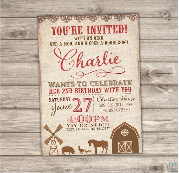 Farm birthday invitations digital or prints boy or girl nv2003 filmwisefo