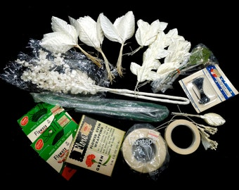 VINTAGE: Large Lot of Millinery Supplies - Millinery Leafs - Leaf Picks - Flower Stems - Wedding Decor - Bouquets - (16-E2-00007219)