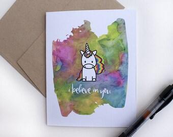 Unicorn Card – Celebration Card – Encouragement Card – I Believe in You – Rainbow Unicorn – All Occasion Card