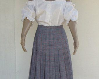 Long vintage SKIRT pleated checkered retro elegant midi skirt 1980s