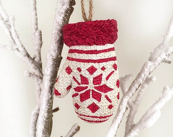 White and Red Holiday Ornament, Holiday Glove Ornament, Cabin Ornament, Christmas Ornament, Red Mitten Ornament
