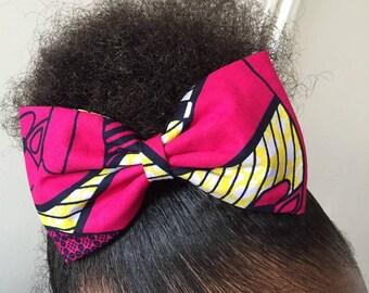Pretty fabric bow fuchsia WAX