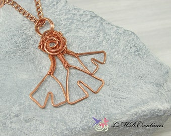 Hammered Copper Ginkgo Leaf Necklace, Copper Wire Leaf Pendant, Wire Wrapped Necklace, Copper Jewelry