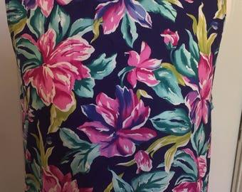 Vintage 90's drop waist floral dress size8-10