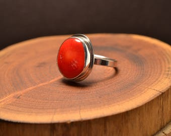 Red Coral on Sterling