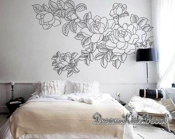 Acrylic painting on decals, Wall Decoration, Emerald Leaves with Pink Floral Tree Murals, Nursery wall art-DIY decal for wall decor