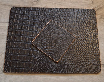 Luxury Brown Mock Croc Faux Leather Placemats & Coasters Copper Detail  Edging Modern Interior Decor Set Of Four
