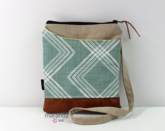 ZOE Messenger Cross Body Sling Bag - Colton Ocean on Beige Linen and PU Leather READY to SHIp  Ipad bag