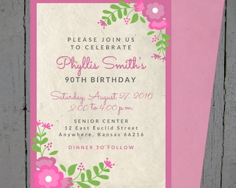 Floral Birthday Invitation - Customized To Order - Pink Flowers - Birthday Invite - Custom Listing
