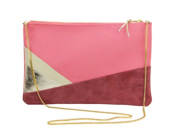 Leather purse . Wedding purse . Pink purse