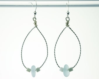 Twisted Wire Earrings with Sea Foam Genuine Sea Glass