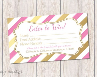 Direct Sales Raffle Ticket | Pink and Gold Stripes | Instant Download | Direct Sales Party Marketing Tools